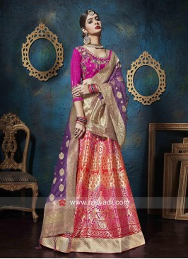 Unstitched Jacquard Silk Lehenga Choli