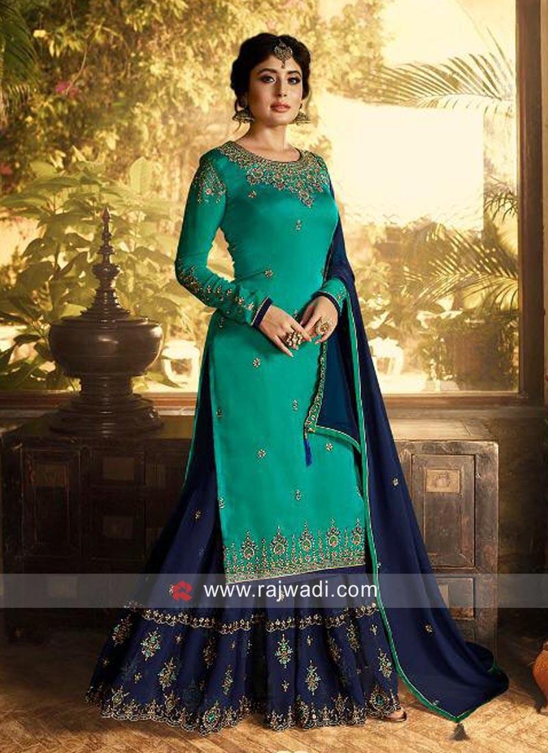 Kritika Kamra Satin Gharara Suit with Dupatta