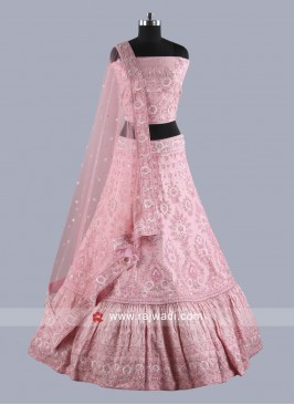 Unstitched Lehenga Choli in Baby Pink