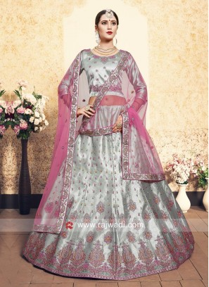 Satin Lehenga Choli in Light Grey