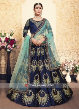Unstitched Lehenga Choli in Navy Blue