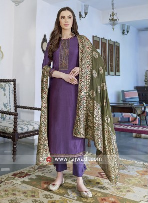 Unstitched Magenta Salwar Suit