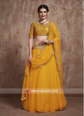 Unstitched Mirror Work Lehenga Choli