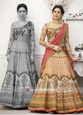 Multi Printed Banarasi Silk Lehenga Choli