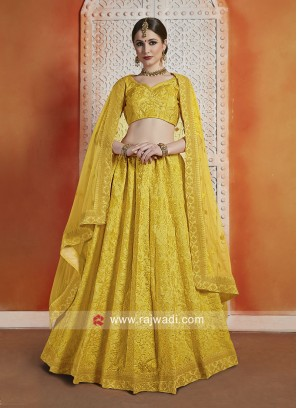 Unstitched Mustard Yellow Lehenga Choli