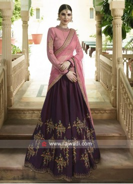 Unstitched Peach and Wine Wedding Lehenga