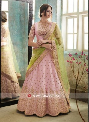 Unstitched Pink Wedding Lehenga Choli