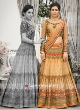 Printed Banarasi Silk Lehenga Choli