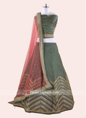 Wedding Raw Silk Stripes Lehenga Choli