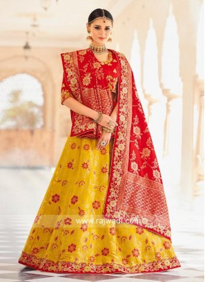 Unstitched Red and Yellow Brocade Lehenga