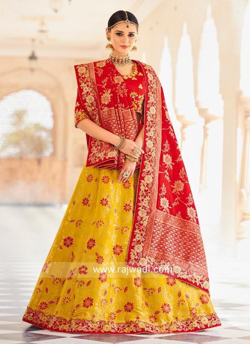 Red and Yellow Brocade Lehenga Set