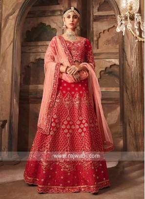 Unstitched Red Banarasi Silk Lehenga Choli