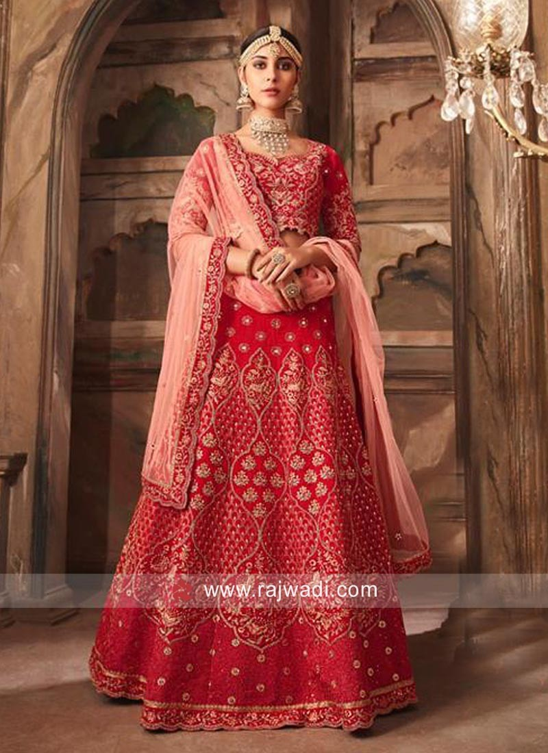 Unstitched Red Banarasi Silk Lehenga Choli