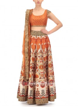 Unstitched Satin Lehenga Choli