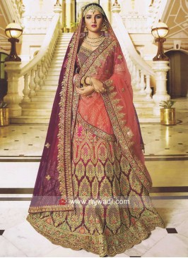 Unstitched Shaded Lehenga with Dupatta
