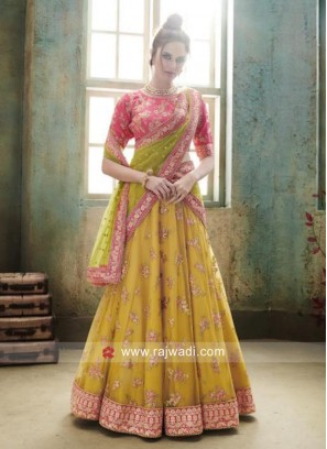 Unstitched Traditional Embroidered Lehenga