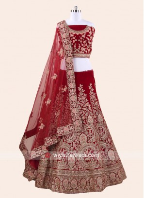 Designer Velvet Lehenga Choli in Red