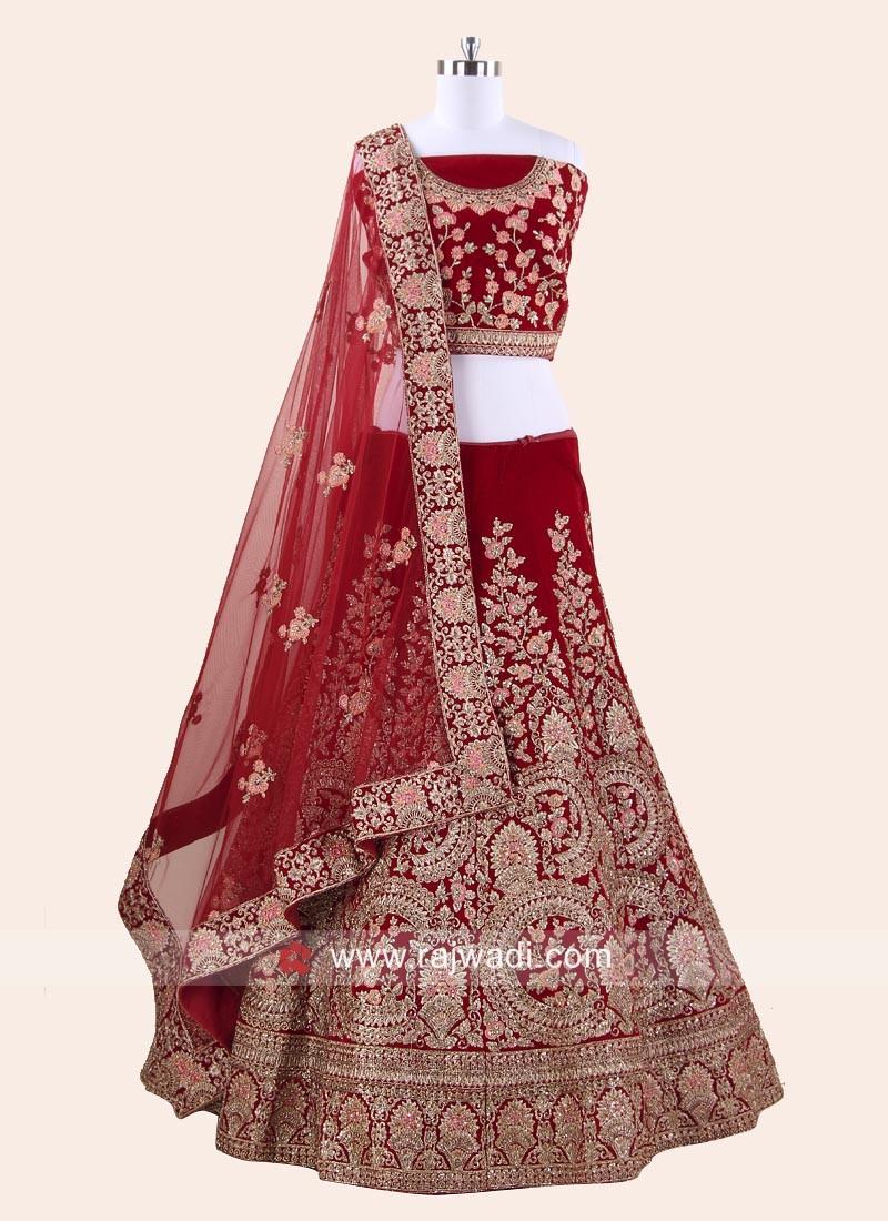 Unstitched Velvet Lehenga Choli in Red