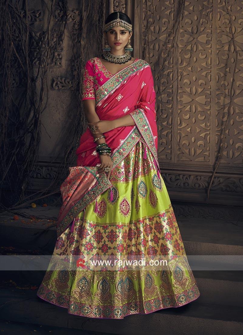 Brocade and Raw Silk Wedding Lehenga Choli