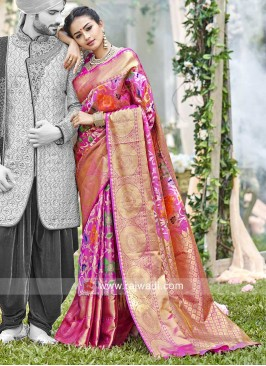 Uppada Silk Pink Weaving Saree