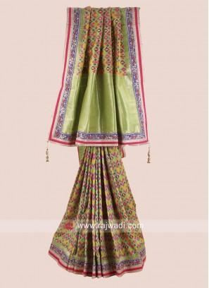 Uppada Silk Saree in Parrot Green