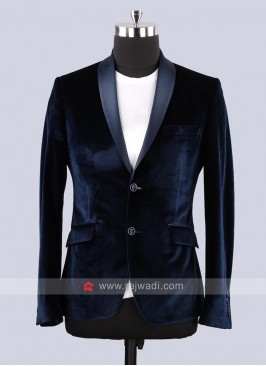 Van Heusen Velvet Fabric Blazer In Navy Color