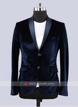 Van Heusen Velvet Fabric Blazer In Navy Color