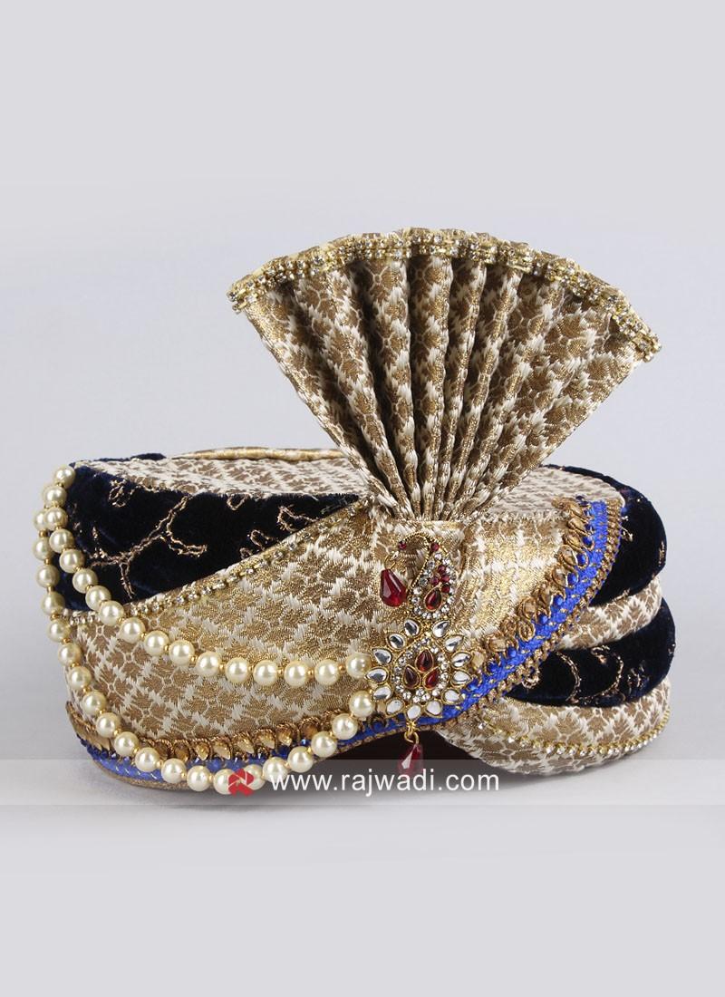 Brocade Silk and Velvet Mens Turban