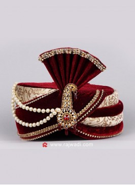 Velvet and Jute Fabric Turban