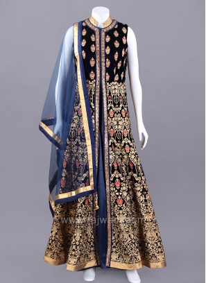 Velvet and Satin Silk Front Open Slit Anarkali Suit