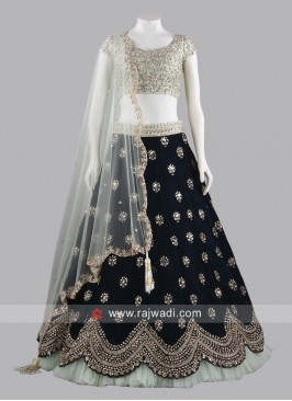 Velvet and Silk Designer Lehenga Set
