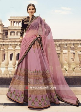 Velvet and Silk Lehenga Choli with Dupatta