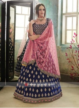 Velvet Blue Embroidered Lehenga