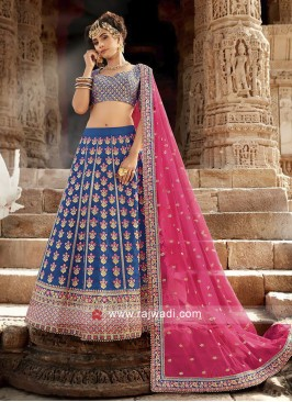Silk Blue Embroidered Lehenga