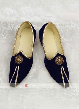 Velvet Blue Mojari For Marriage