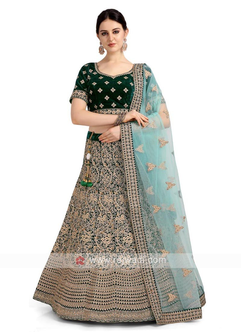 Velvet Bottle Green Lehenga Choli