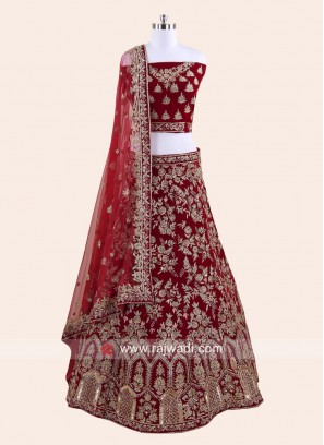Velvet Bridal Lehenga in Maroon