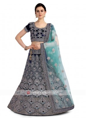Velvet Dark Blue Lehenga Choli