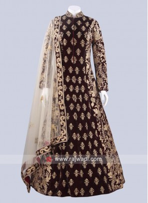 Velvet Dark Maroon Gown with Dupatta