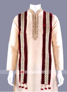 Velvet Embroidered Dupatta with Latkan