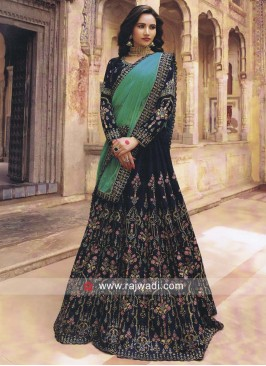 Velvet Embroidered Lehenga in Navy Blue