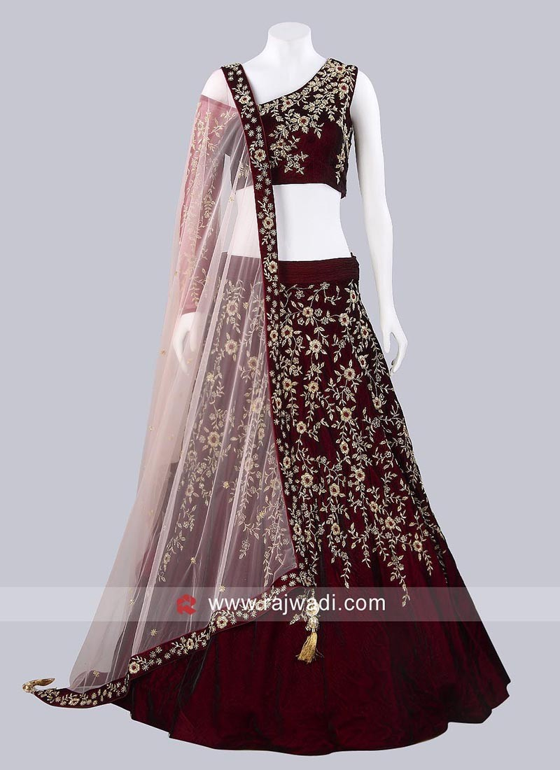 Velvet Embroidered Lehenga Set