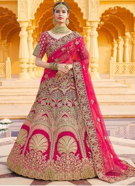 Velvet Embroidered Pink Designer Lehenga Choli