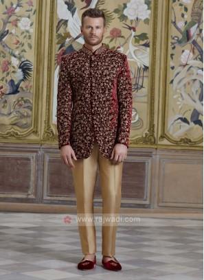 Velvet Embroidery Jodhpuri Suit