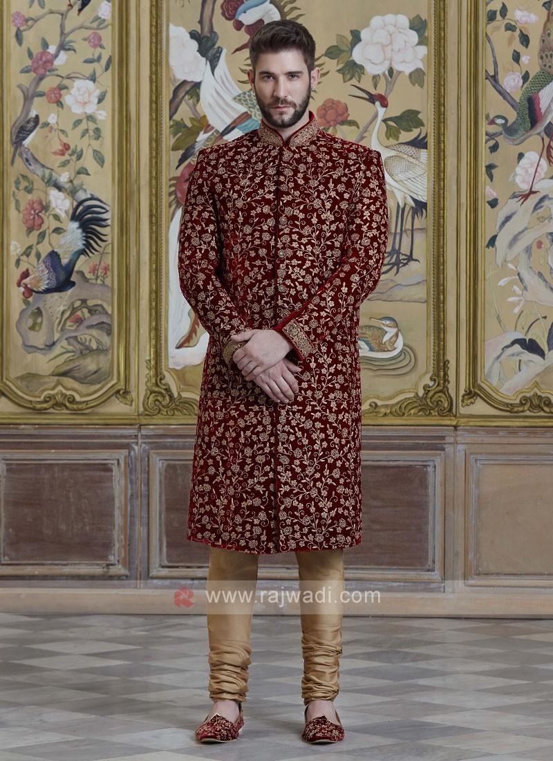 Velvet Embroidery Sherwani