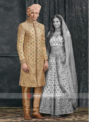 Attractive Golden Color Sherwani For Wedding