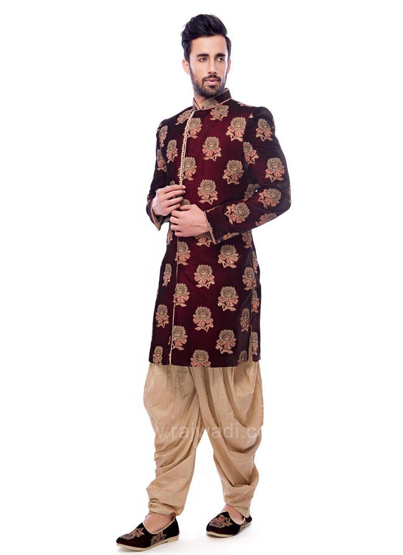 Velvet Fabric Maroon Color Indo Western