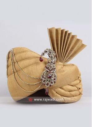 Art Silk Fabric Golden Color Turban