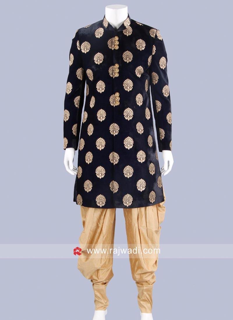 Velvet Fabric Navy Indo Western For Wedding