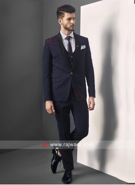 Blue Terry Rayon Suit For Wedding